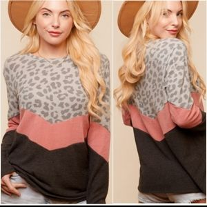 Tops - brushed animal chevron top